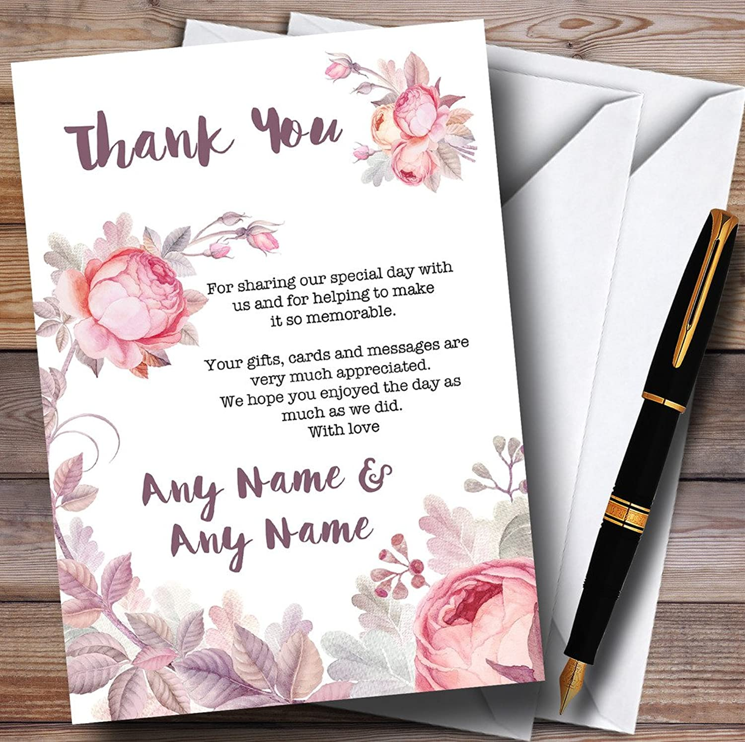 Beautiful Watercolour Floral Personalised Wedding Stationery Thank You Cards
