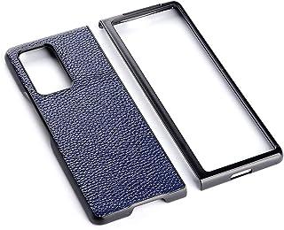 حافظة غطاء SYBS متوافقة مع بدلة نحيفة للغاية مصممة لهاتف Huawei Mate X2 (2021) من الجلد الطبيعي للميت x2 (أزرق)