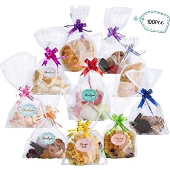 Thank You Frosted Cello Cellophane Gusset Sweet Favour Party Gift Bags Set