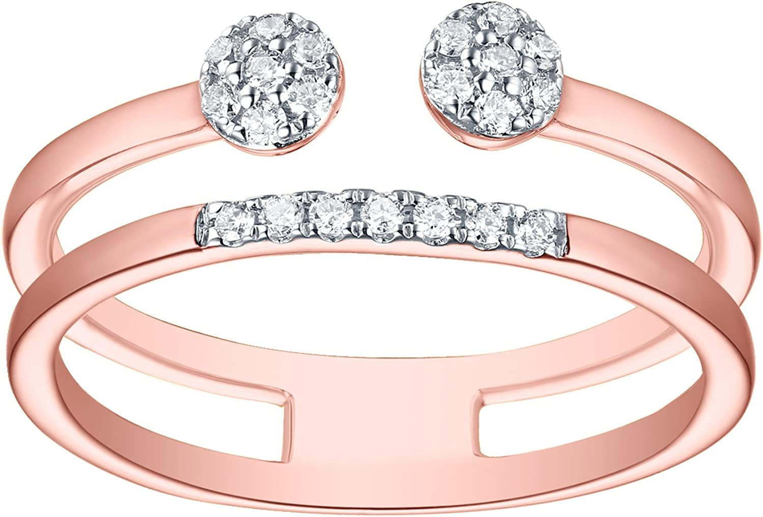 Goldenstar 0.17Ct G-H I2 Natural Diamond Max 77% OFF Ring Fancy Rose G Wrap Max 72% OFF