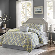 Madison Park Essentials Merritt Queen Size Bed Comforter Set Bed in A Bag - Grey/Yellow, Geometric – 9 Pieces Bedding Sets – Ultra Soft Microfiber Bedroom Comforters