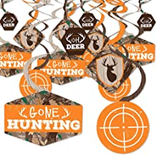 product image for Big Dot of Happiness Gone Hunting - Deer Hunting Camo Baby Shower or Birthday Party Hanging Decor - Party Decoration Swirls - Set of 40