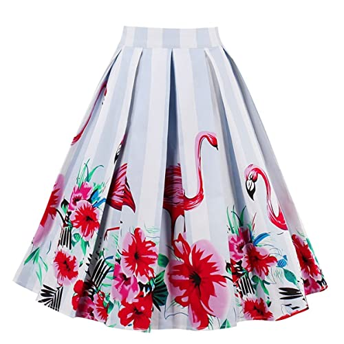 d19da7a5d2 Dresstore Vintage Pleated Skirt Floral A-line Printed Midi Skirts with  Pockets