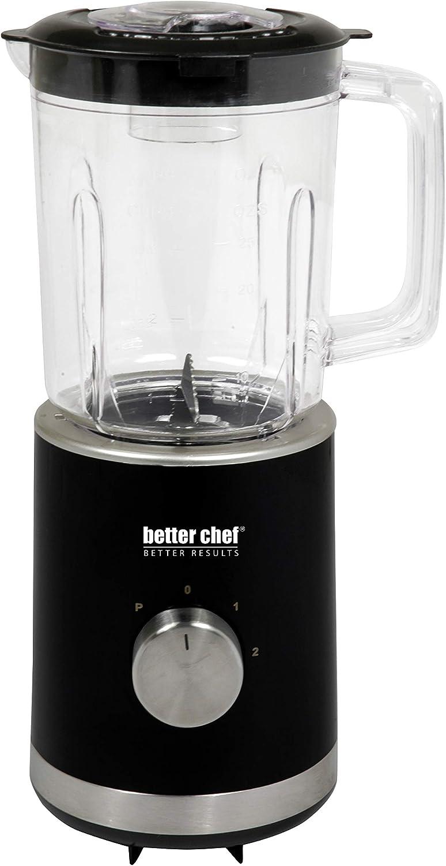 Better Chef Compact Blender | 25-Ounce BPA-Free Plastic Jar | Stainless-Steel Blade | 2-Speed and Pulse | 300-Watt Motor | Modern Brushed Metal Trim | Safety Mechanism (Black)
