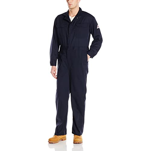 a467fef8a89f Bulwark Men s Flame Resistant 9 Oz Twill Cotton Deluxe Coverall with  Concealed Snap Cuff