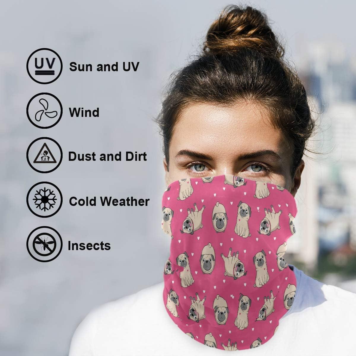 ALAZA Hipster Puppy Dog Pug Animal Headwear Sun Dust Magic Scarf Headband Bandana Neck Gaiters Outdoor Sports for Women Man