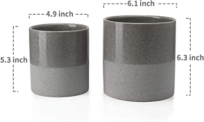 Greenaholics Plant Pots - 5.9 + 4.7 Inch Ceramic Planters for Snake Plant, Medium Indoor Plant, Vintage Style, with Drainage Hole, Set of 2, Grey