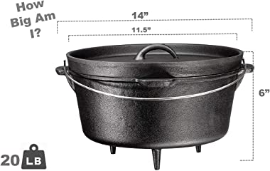Bruntmor Pre-Seasoned Cast Iron Dutch Oven with Flanged Lid Iron Cover, for Campfire or Fireplace Cooking, Flat Bottom 8 Quar