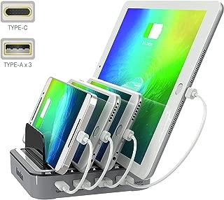 Kavalan 4 Port USB C Charging Station Dock & Organizer – Universal Tablet & Smartphone Multi-Device USB Type C Desktop Charging Stand Organizer 3 Type A + 1 Type C Charging