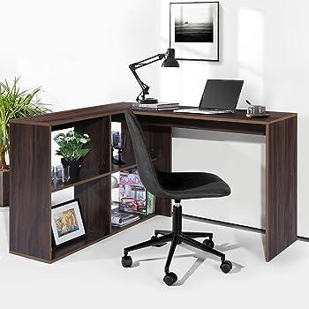 FurnitureR Escritorio en forma de L Escritorio de esquina con estantes, Estación de trabajo de computadora de madera para oficina en el hogar, Escritorio de computadora de ahorro de espacio con superficie de madera espaciosa Marrón(120*39*75 cm)