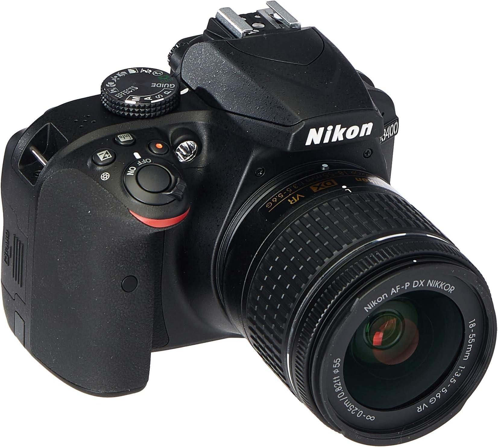 Nikon D3400 Digital SLR Camera & 18-55mm VR DX AF-P Zoom Lens (Black) - (Renewed)