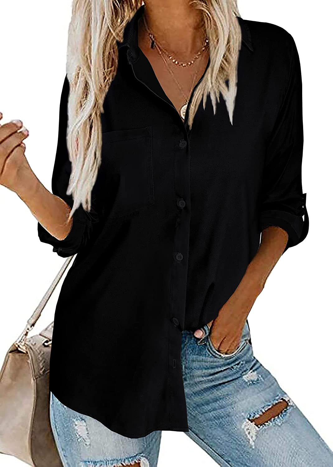 Beautife Womens Button Down V Neck Shirts Long Sleeve Blouse Roll Up Cuffed Sleeve Casual Tops with Pockets