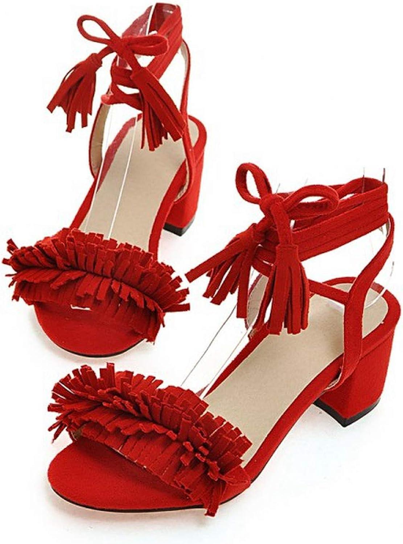 Spring Summer Bohemia Rome Beach shoes Cross Strap Thick Heel Tassel Womens shoes,2,9