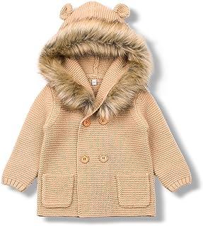 MiMiXiong Baby Boy Cardigan Sweater Cartoon Hoodies Long Sleeve Coats (12-18Months, Brown-2)