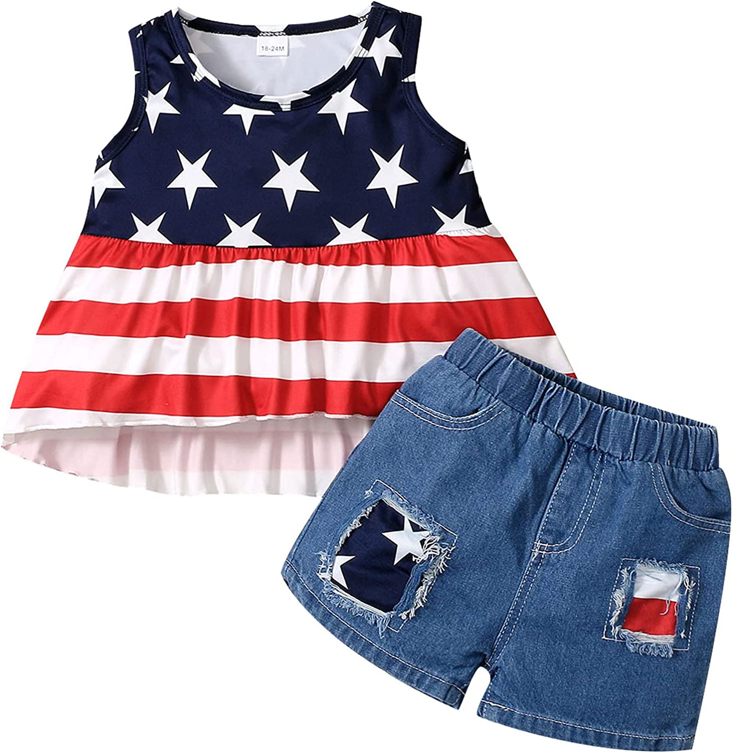 Dedication ROMPERINBOX 4th of July Toddler Baby Boy Clo Outfits Cash special price Summer Girl