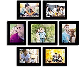 Art Street Love Forever Set of 7 Individual Photo Frame/Wall Hanging for Home Décor - Black