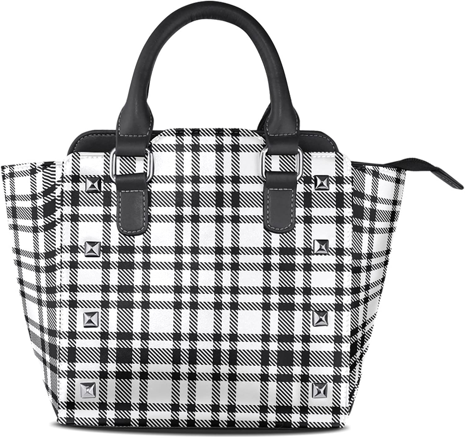 My Little Nest Women's Top Handle Satchel Handbag Classical Black and White Tartan Ladies PU Leather Shoulder Bag Crossbody Bag