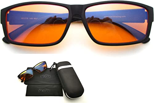 Merci Blue Light Blocking Fit Over Computer Glasses to wear with or without reading glasses, Amber 98% filter lens fo...