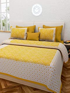 BedZone Cotton Comfort Rajasthani Jaipuri Traditional King Size 1 Double Bedsheet with 2 Pillow Covers_