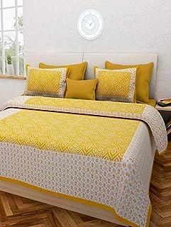 E-WISH BOX Cotton 300 TC Bedsheet (King_Yellow)