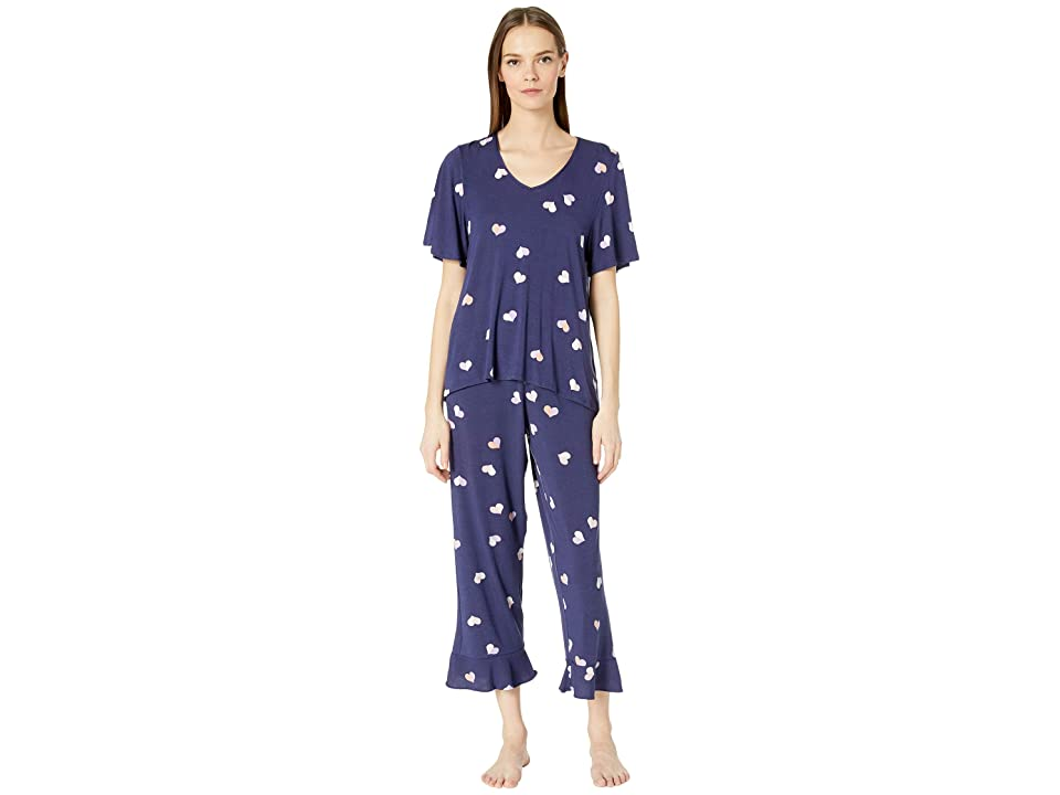 Kate Spade New York Cropped Pajama Set (Navy Heart) Women
