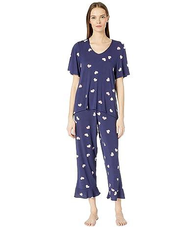 Kate Spade New York Cropped Pajama Set (Navy Heart) Women