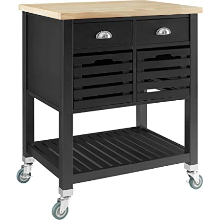 Linon Home Decor Products Clea Kitchen Cart, Black with Wood Top