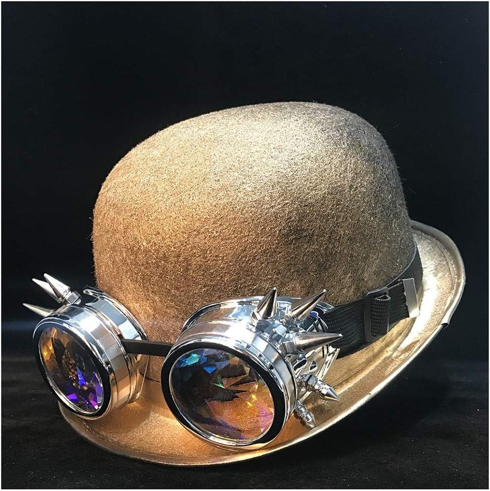 LHZUS Hats New Women Men Steampunk Hat Bowler Hat Cosplay Topper Top Hat Fedora Gear Glasses Hat Size 58CM (Color : Gold Qhou, Size : 58CM)