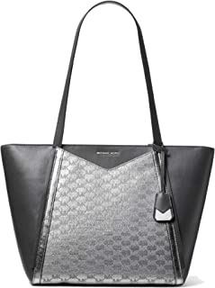 MICHAEL Michael Kors Whitney Large Metallic Logo Jacquard Leather Tote Bag, Silver Black