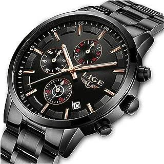 LIGE Men Watches Luxury Business Fashion Watches Analog Quartz Sport Wristwatch Steel Waterproof Chronograph Dress Date Clock Casual Black Blue