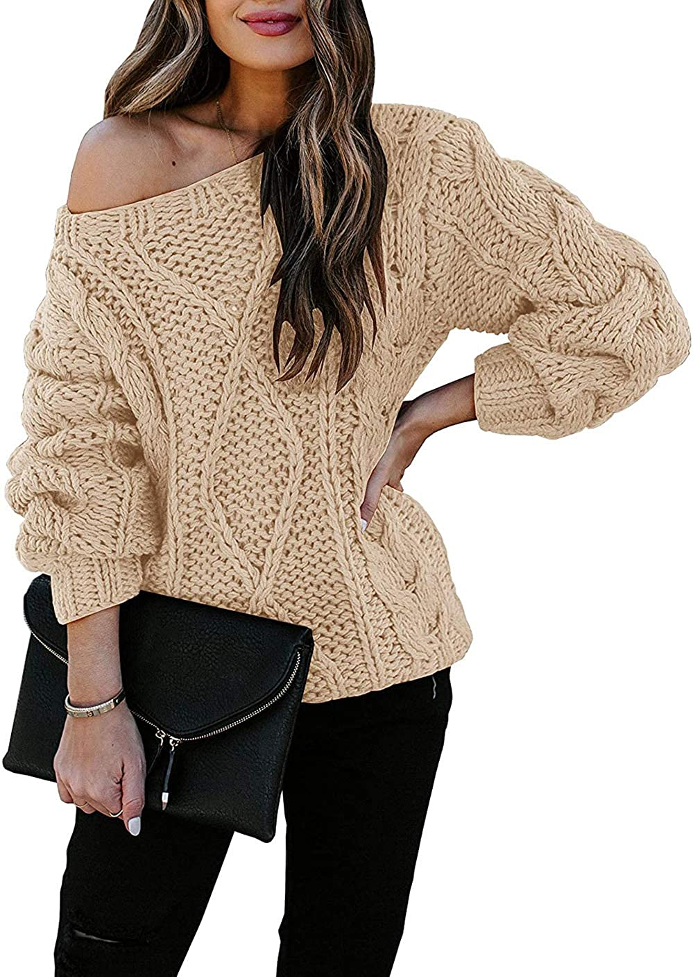 TOTREND Womens Off Shoulder V Neck Chunky Cable Knit Loose Fit Pullover Sweaters