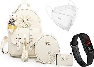Prestigious Fashion Girls 3-PCS Fashion Cute Stylish Leather Backpack & Sling Bag Set for Women Teddy Bear Keychain Women ...