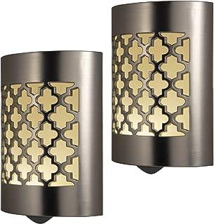 GE CoverLite LED Night Light Design, 2 Pack, Plug-in, Dusk-to-Dawn Sensor, Home Decor, for Elderly, Ideal for Kitchen, Bathroom, Bedroom, Office, Nursery, Hallway, 46815, Brushed Nickel | Moroccan, 2