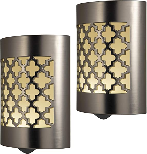 GE CoverLite LED Night Light Moroccan Design 2 Pack Plug In Dusk To Dawn Sensor Home Decor For Elderly Ideal For Kitchen Bathroom Bedroom Office Nursery Hallway Brushed Nickel 46815