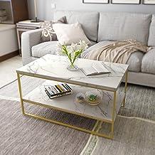 طاولة قهوة بطباعة رخامية بيضاء مع أرجل معدنية ذهبية من روميفترز، طاولات غرفة المعيشة