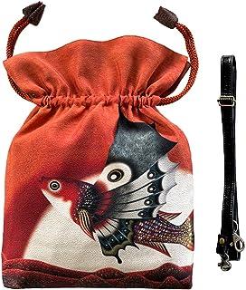 2WAY KINCHAKU【赤い游星の蝶魚】本体内ポケット+ Pポーチ付オリジナルプリント &ハンドメイド少数販売品