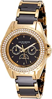 Women's AK961Multifunction Stainless Steel Quartz Watch with Ceramic Strap Two Rows Sparkling Crystals Bezel