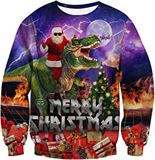 Belovecol Men Women Ugly Christmas Sweater Funny 3D Graphic Pullover Crew Neck Sweatshirt Xmas Gifts for Party