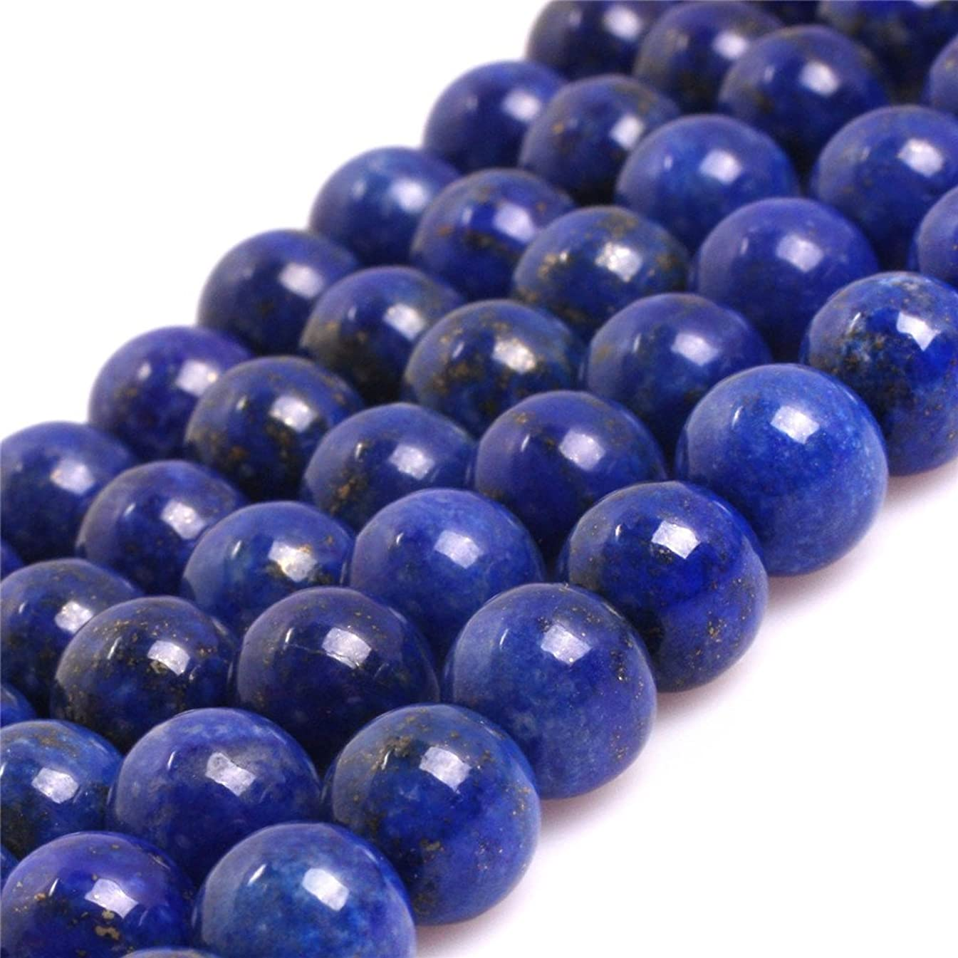 AA Grade Natural Round Genuine Gemstone Semi Precious Stone Beads for Jewelry Making 15'' (Lapis Lazuli/8MM)