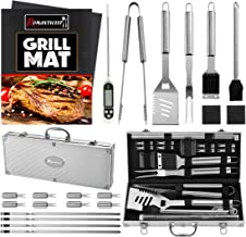 ROMANTICIST 23pc Must-Have BBQ Grill Accessories Set with Thermometer in Aluminum Case - Stainless Steel Barbecue Tool Set for Backyard Outdoor Camping Tailgating - Great Grill Gift for Men Women Dad