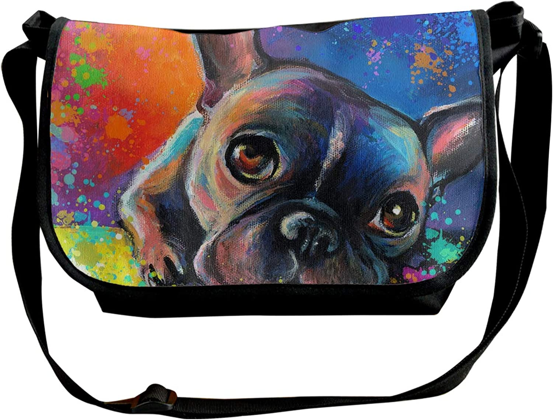 Aaron Hendricks Single Shoulder Pack colorful French Bulldog Business College Travel Satchel School Bag