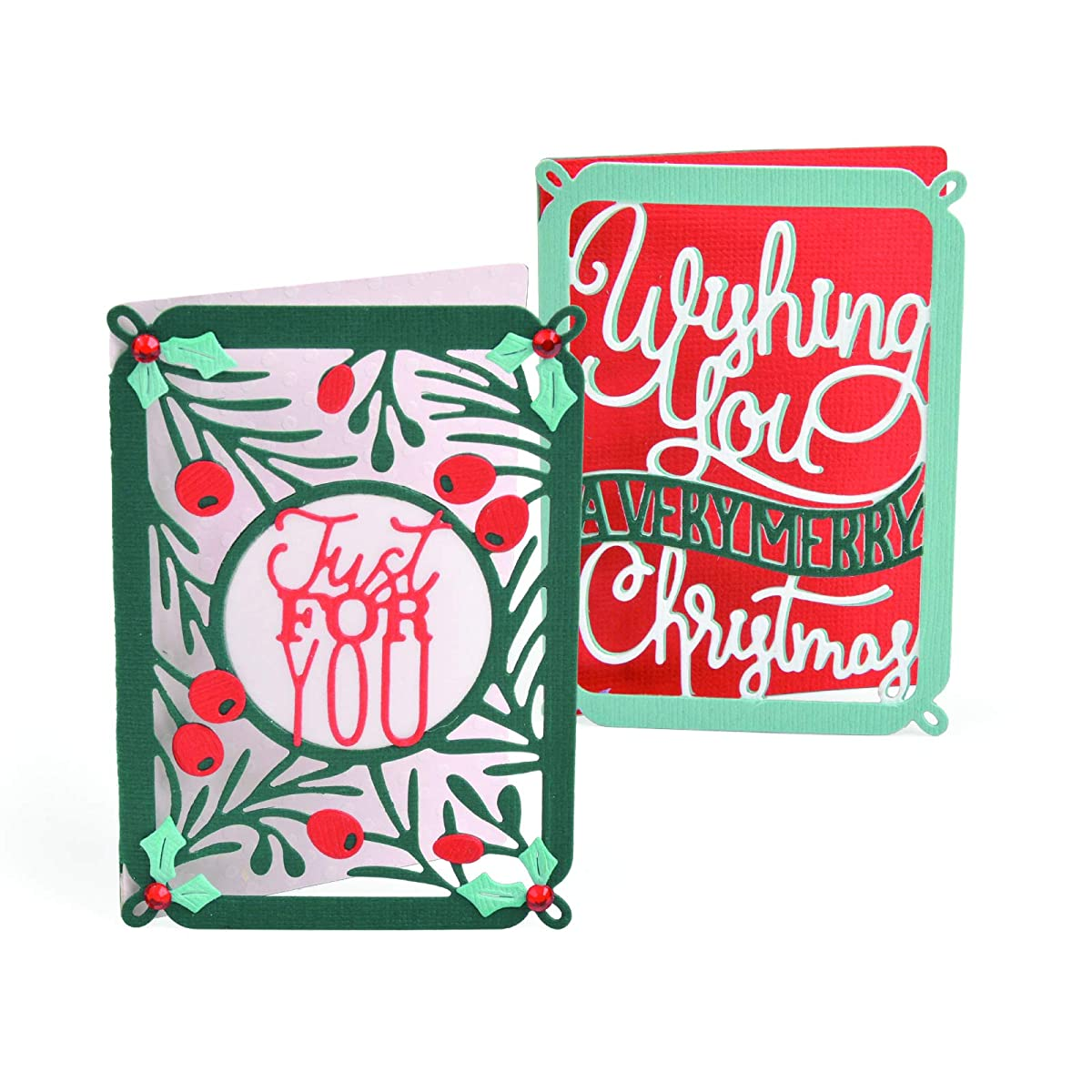 Sizzix 663156 Thinlits Die Set Mini Card, Merry Christmas by Katelyn Lizardi (4-Pack), Multicolor