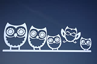 Five Star Graphics Owl Family Sticker Vinyl Decal Choose Color!! Cute car Sticker Wall Art 10