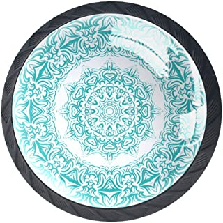 Mandala - Juego de 4 pomos para armario de cocina tiradores redondos para cajón y aparador