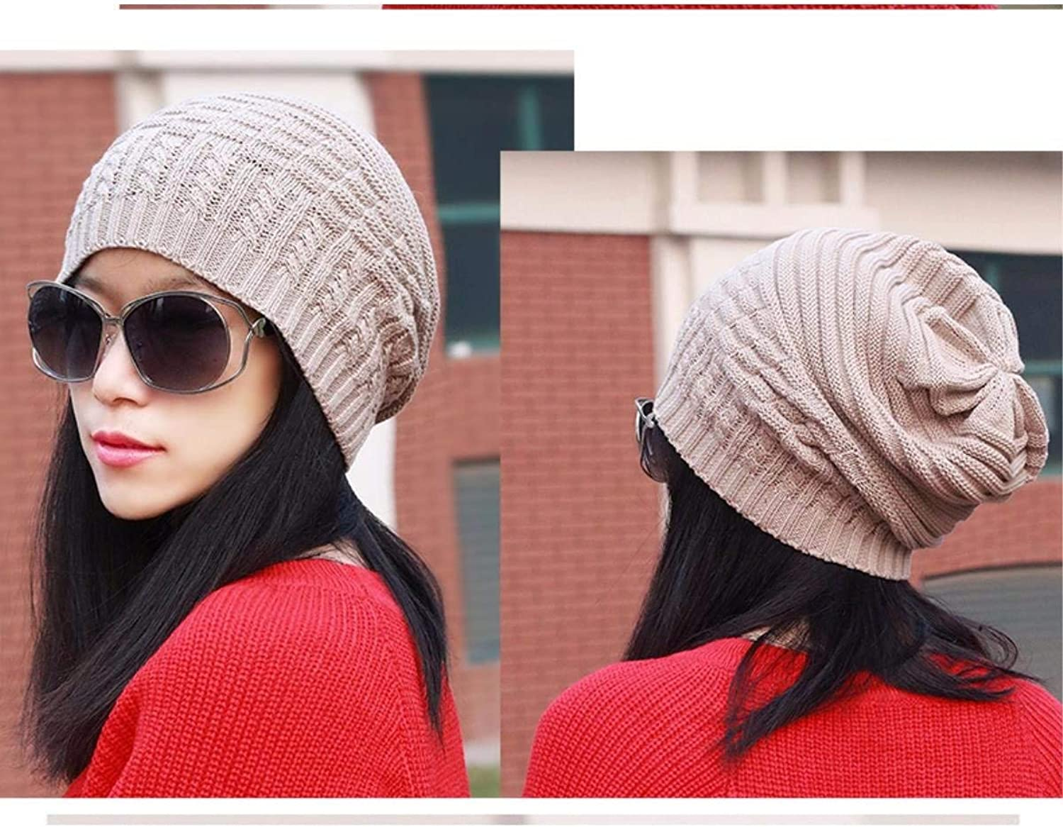 Chuiqingnet Hat female autumn winter knitting wool cap ear cap bald cap kit and a couple of new header