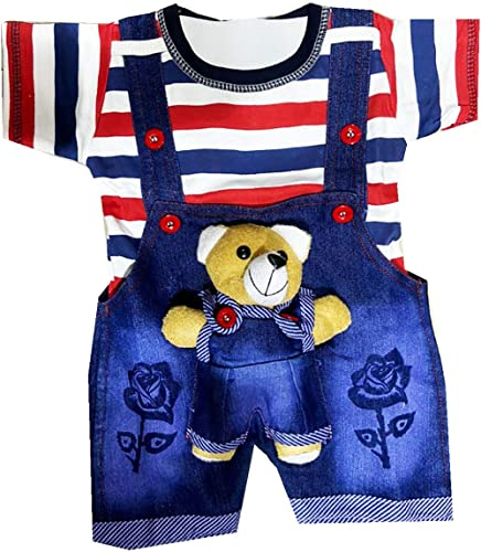 TENDERCARE Baby boy & Baby Girl Denim Dungaree Set with Tshirt || Dress and Clothes for Baby boy & Baby Girl (0-6 Mon...