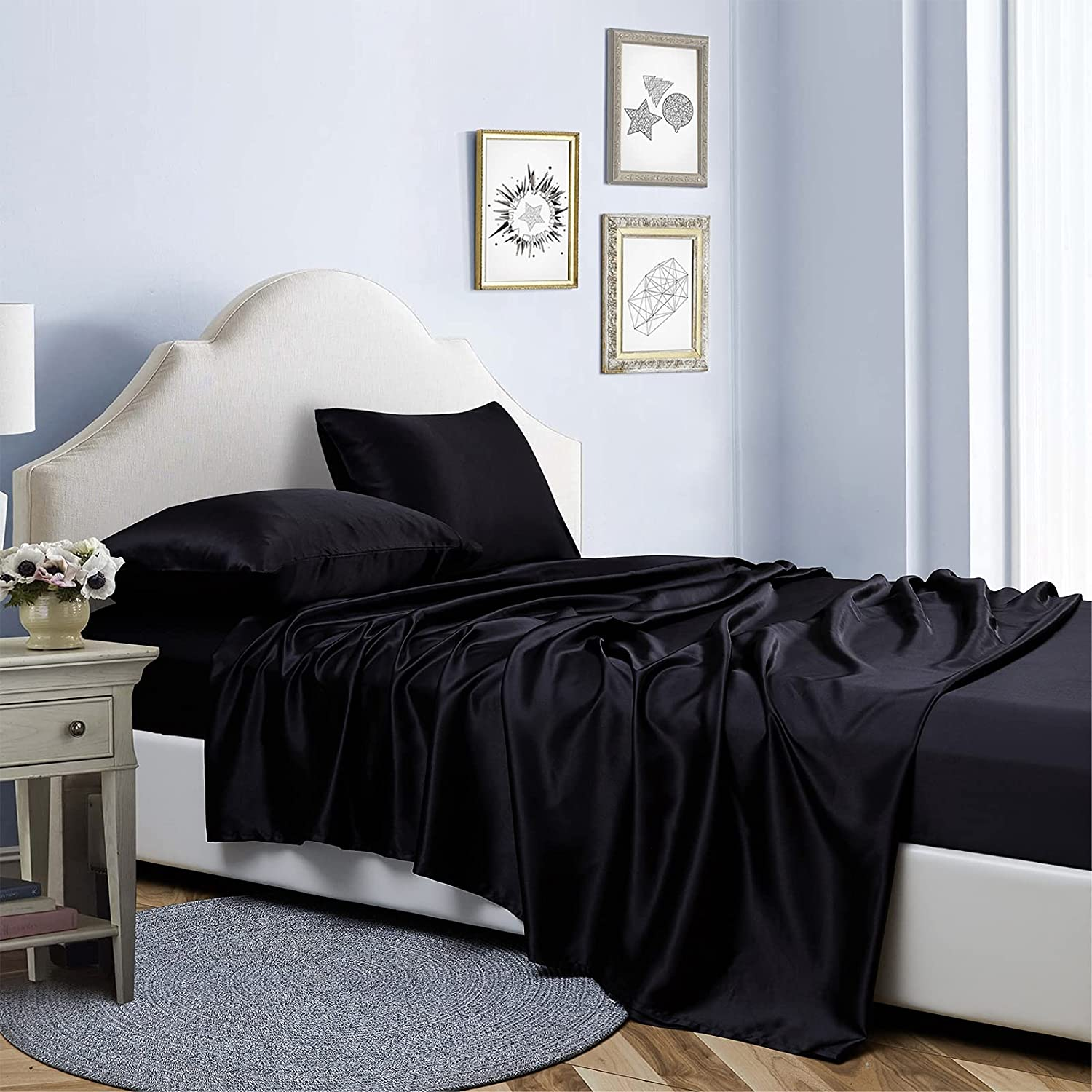 Bonlino Satin Be super welcome Sheets Set Black Online limited product 4 Size King Shee Bed Piece