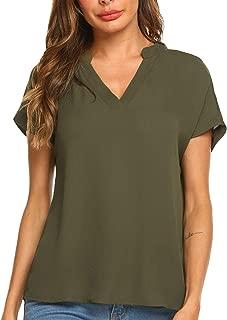 Women Chiffon Blouse V Neck Short Sleeve Casual Top Shirts for Summer