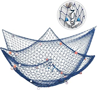 king do way 79inch x 59inch Mediterranean Style Fishing Nets with Sea Shells and Anchor..