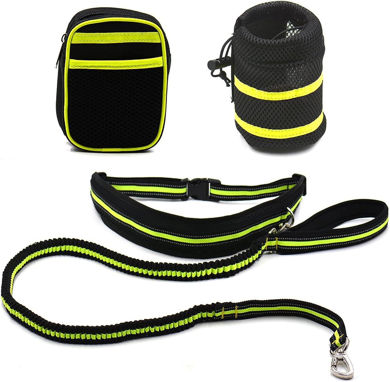 OCSOSO Hands Free Dog Running Leash Reflective with Pouch Waist Adjustable Bag Holder Belt Pack Slip Lead for Running Jogging Walking Biking (Green)